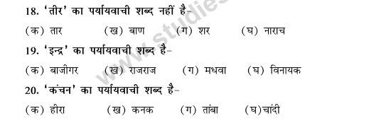 CBSE Class 9 Hindi Conventions MCQs-Paryayvachi Shabd-4