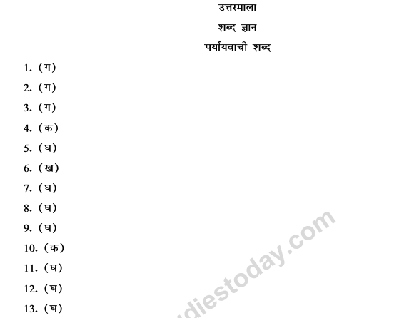 CBSE Class 9 Hindi Conventions MCQs-Paryayvachi Shabd-5