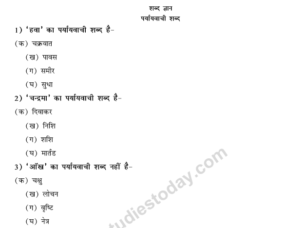 CBSE Class 9 Hindi Conventions MCQs-Paryayvachi Shabd