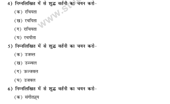 CBSE Class 9 Hindi Vyakaran Shabd Gyan Vartani MCQs-