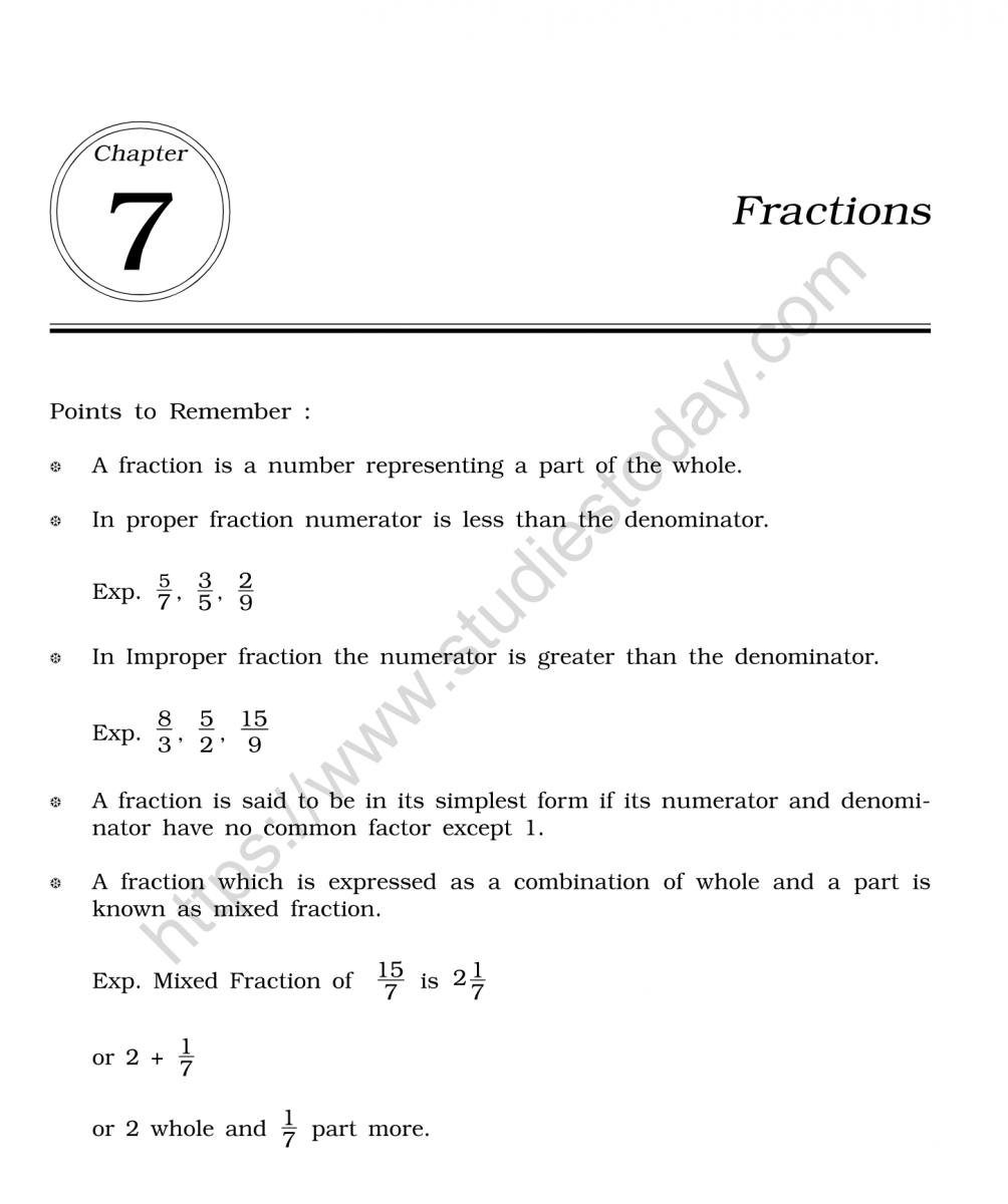 Cbse Class 6 Mental Maths Fractions Worksheet