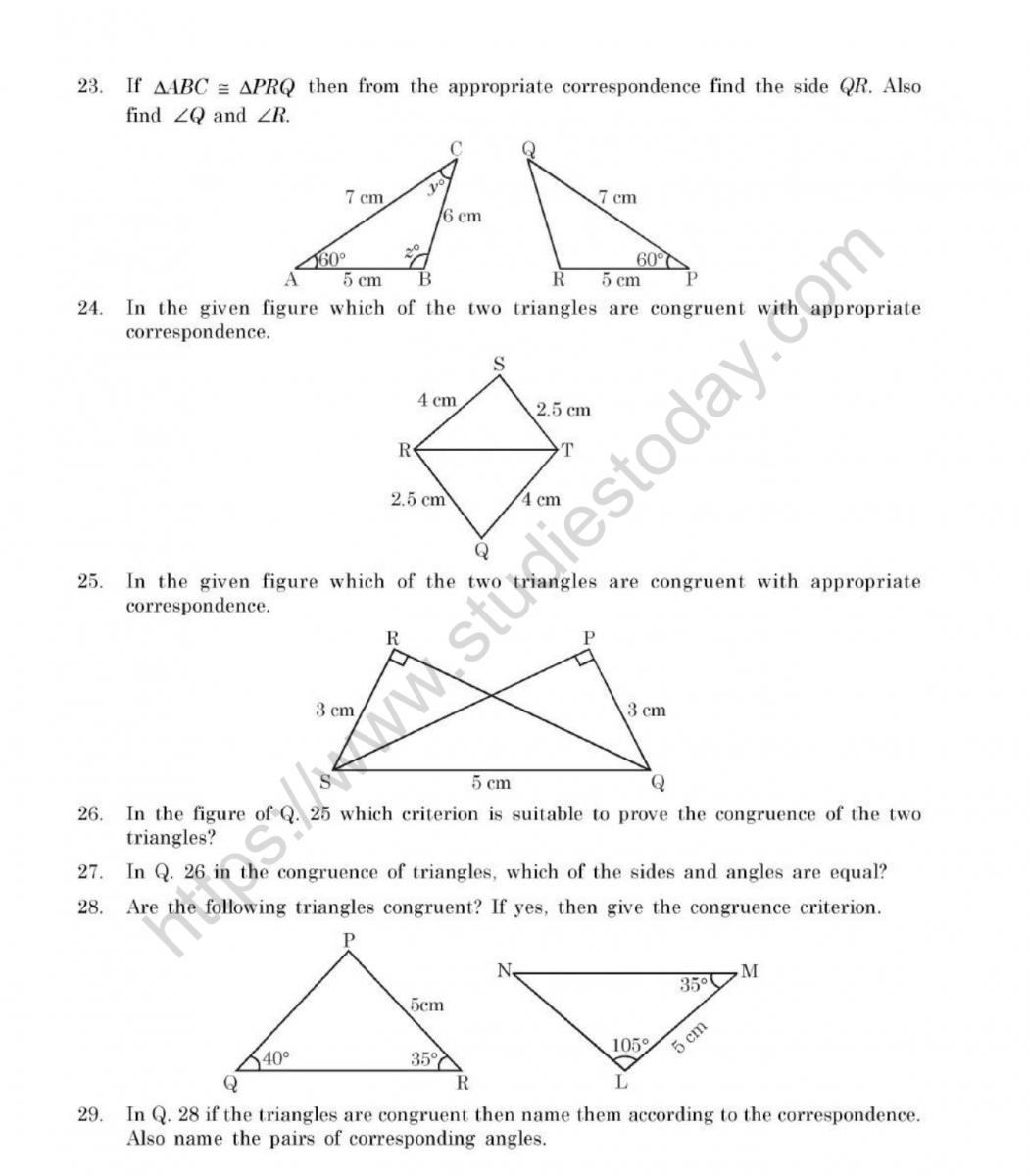CBSE Class 24 Mental Maths Congruence Of Triangles Worksheet In Congruent Triangles Worksheet With Answer