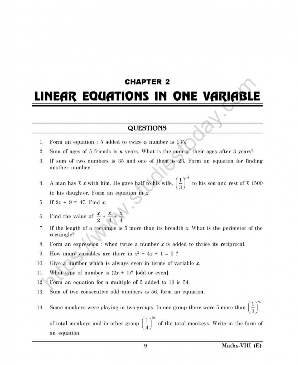 Cbse Class 8 Mental Maths Linear Equations In One Variable Worksheet