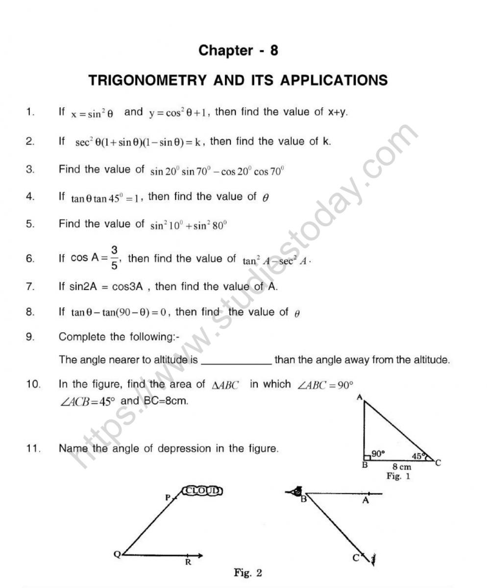 CBSE Class 10 Mental Maths Trigonometry And Its ...