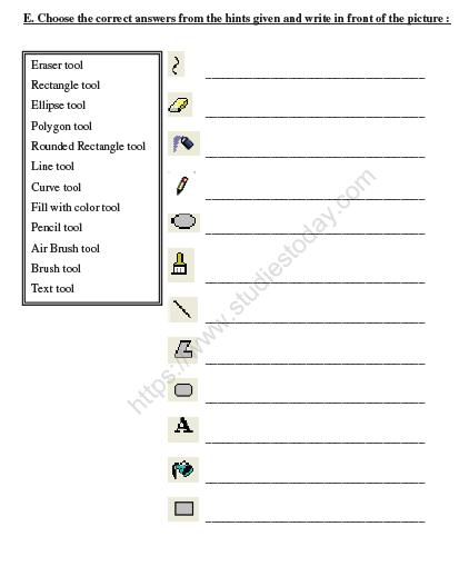 Cbse Class 2 Computers Practice Worksheet Set G Practice Worksheet For Computer