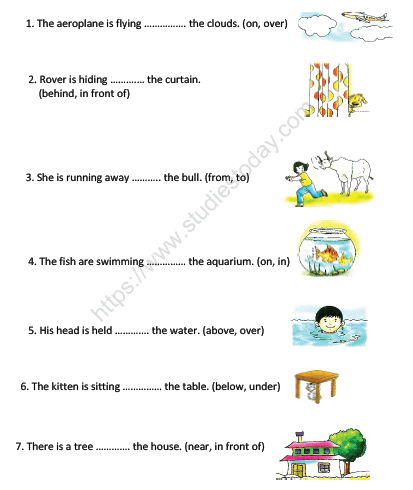 CBSE Class 2 English Practice Prepositions Worksheet Set A Practice  Worksheet For English