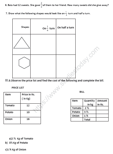 CBSE Class 5 Mathematics Sample Paper Set I