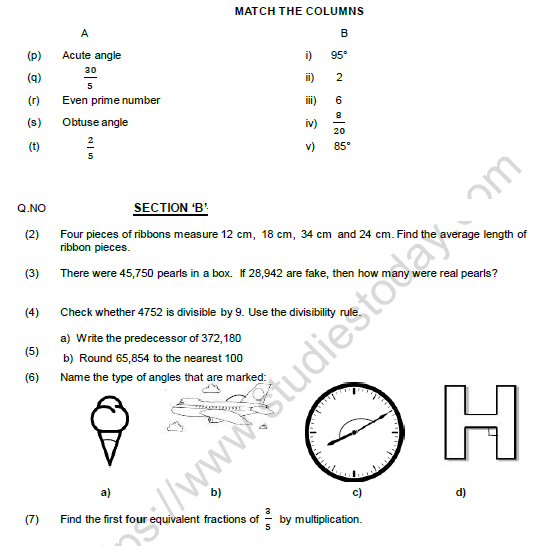 CBSE Class 5 Mathematics Question Paper Set T Solved 2