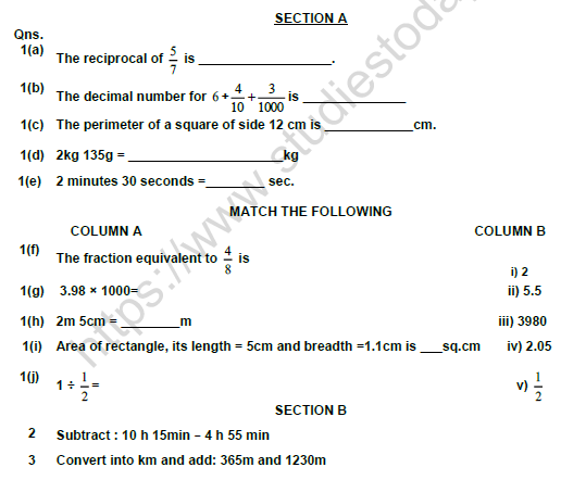 CBSE Class 5 Mathematics Question Paper Set X Solved 1