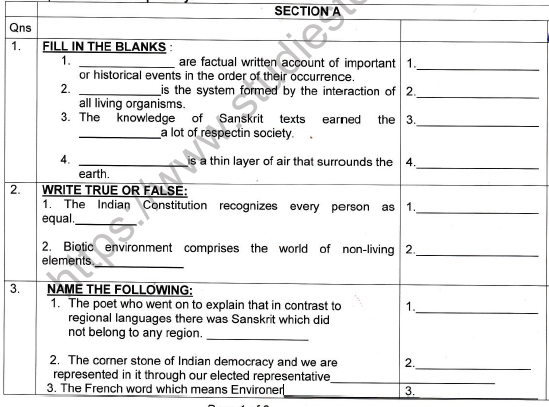 CBSE Class 7 Social Science Worksheet Set Q 1
