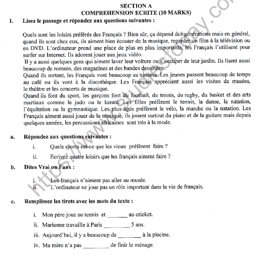 CBSE Class 9 French Question Paper Set E Solved 1