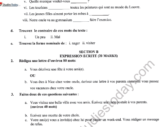 CBSE Class 9 French Question Paper Set E Solved 2