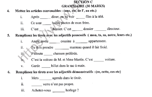 CBSE Class 9 French Question Paper Set E Solved 3