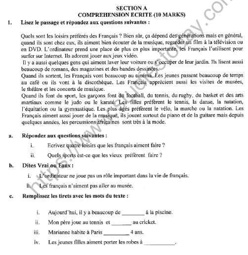 CBSE Class 9 French Question Paper Set F Solved 1
