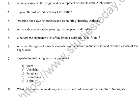 CBSE Class 11 Painting Question Paper Set A Solved 1