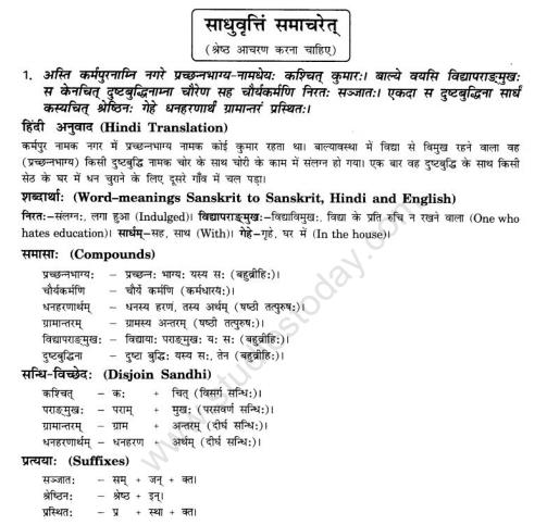 NCERT Solutions Class 10 Sanskrit Chapter 6 Sadhuvrit Samachret