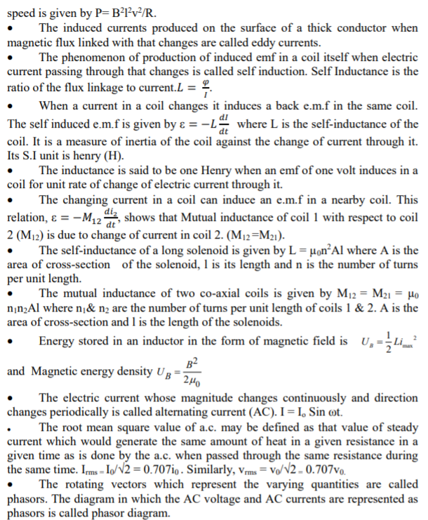CBSE Class 12 Physics Notes - Electromagnetic Induction Concepts for