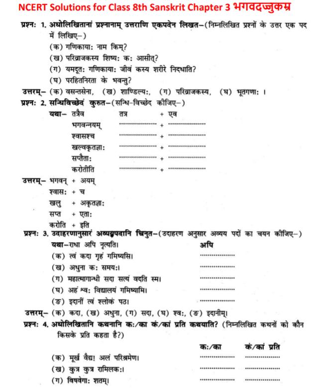 NCERT Solutions Class 8 Sanskrit Chapter 3 bhgvadjukrm