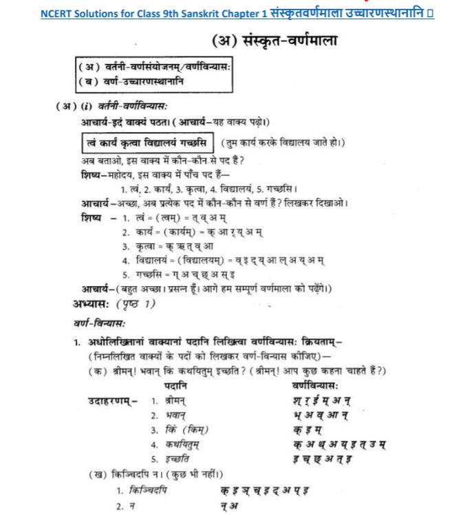 NCERT Solutions Class 9 Sanskrit Chapter 1 Sanskritvarnmala Ucharan