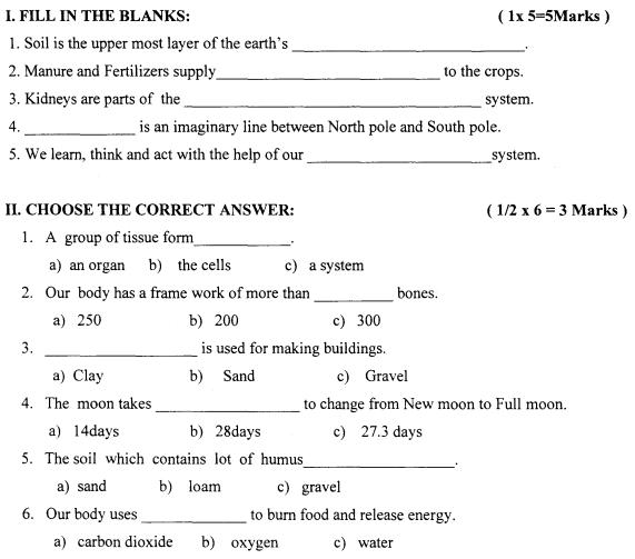 CBSE Class 3 EVS Sample Paper Set H