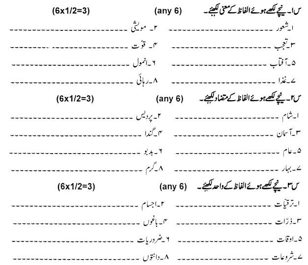 CBSE Class 5 Urdu Question Paper Set A