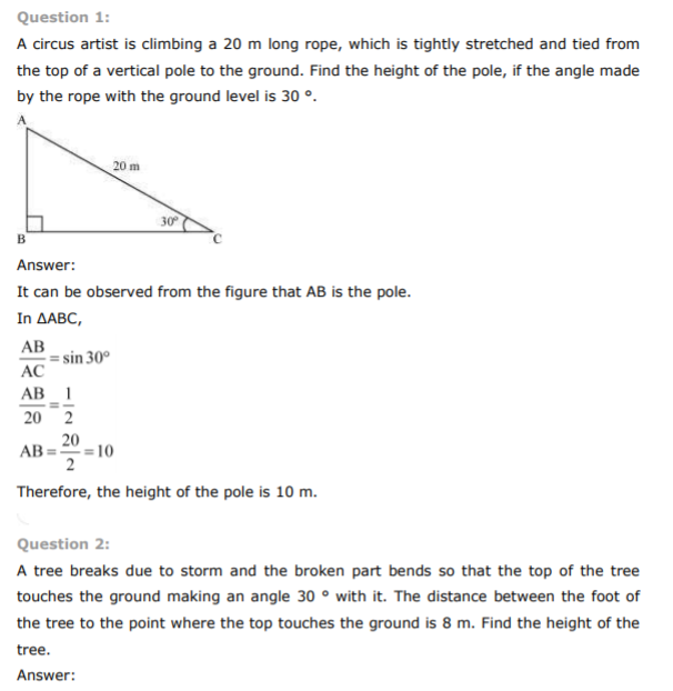 Class 10 NCERT Solutions Some Applications of Trigonometry