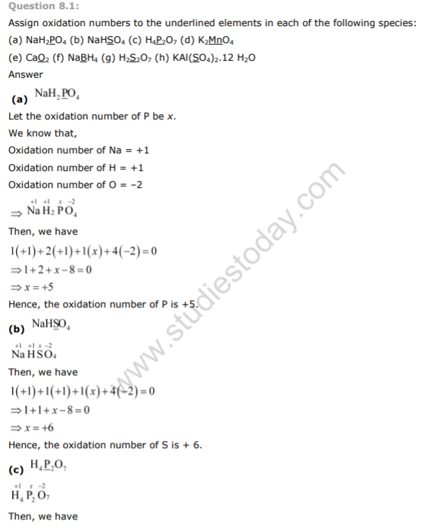 NCERT Class 11 Solutions Redox-Reactions