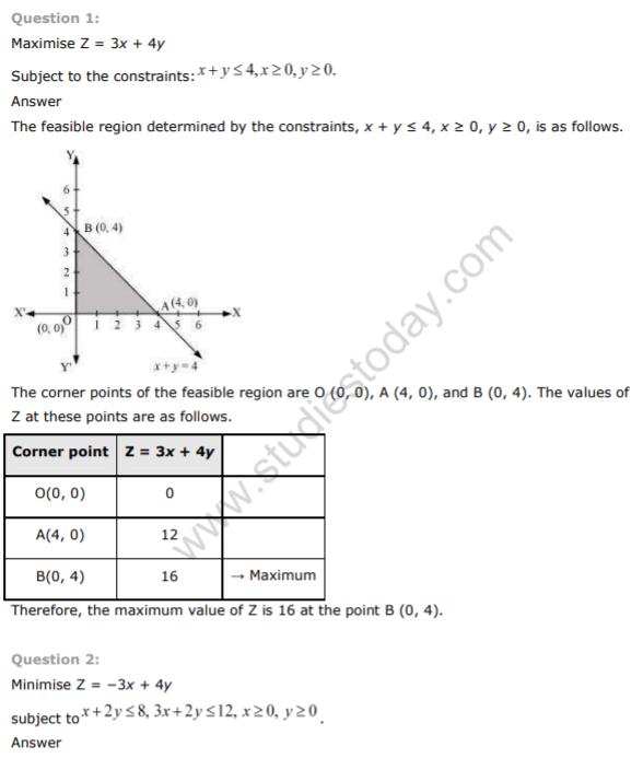 NCERT Class 12 Maths Solutions Linear Programming