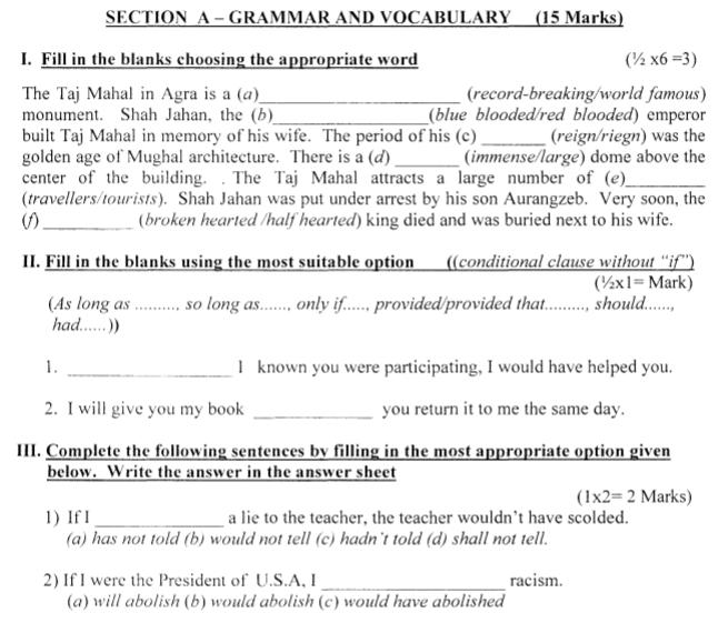 CBSE Class 8 English Question Paper Set N