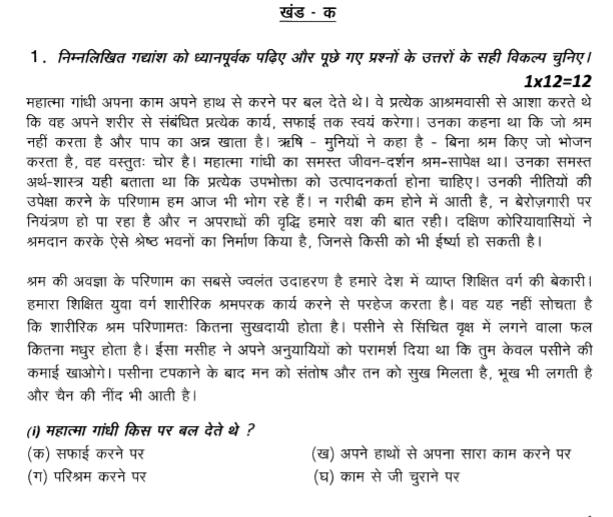 CBSE Class 9 Hindi Question Paper Set E
