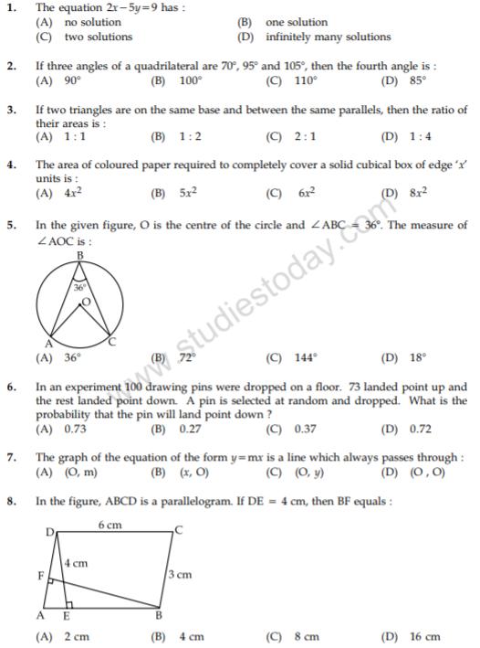 CBSE Class 9 Mathematics Question Papers 2012 - 10