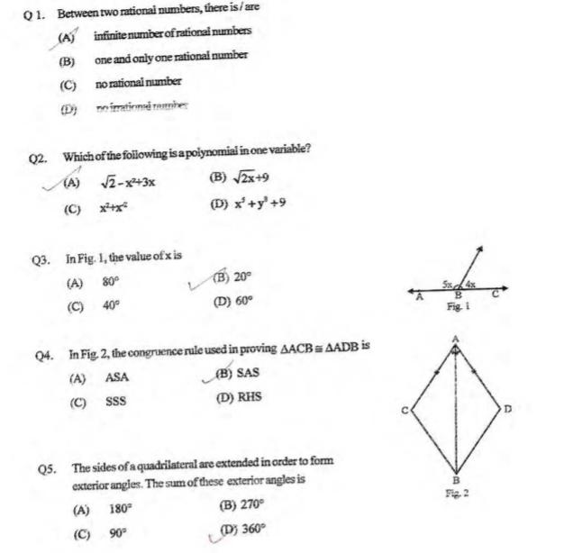 CBSE Class 9 Mathematics Mid term Question Paper 2011