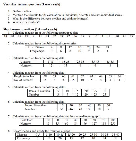 CBSE Class 11 Economics Measures Of Central Tendency (2)