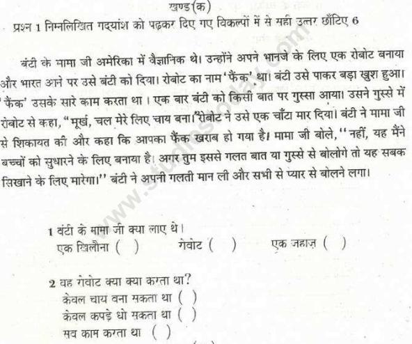CBSE Class 5 Hindi Sample Paper Set V