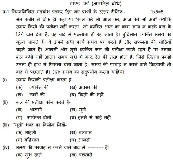 CBSE Class 6 Hindi Sample Paper Set M