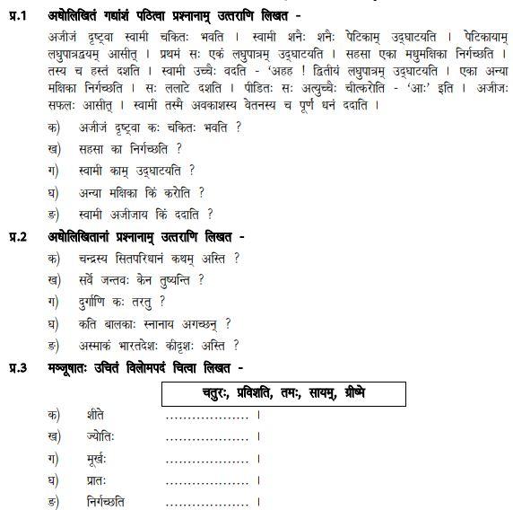 cbse class 6 sanskrit sample paper set d. Black Bedroom Furniture Sets. Home Design Ideas