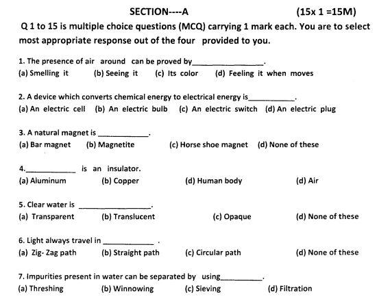cbse class 6 science question paper set h. Black Bedroom Furniture Sets. Home Design Ideas