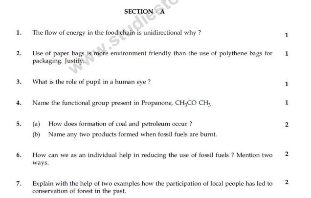 CBSE Class 10 Science Sample Paper 2014 (22)