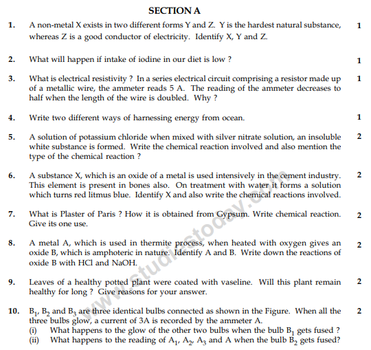 CBSE Class 10 Science Sample Paper 2014 (23)