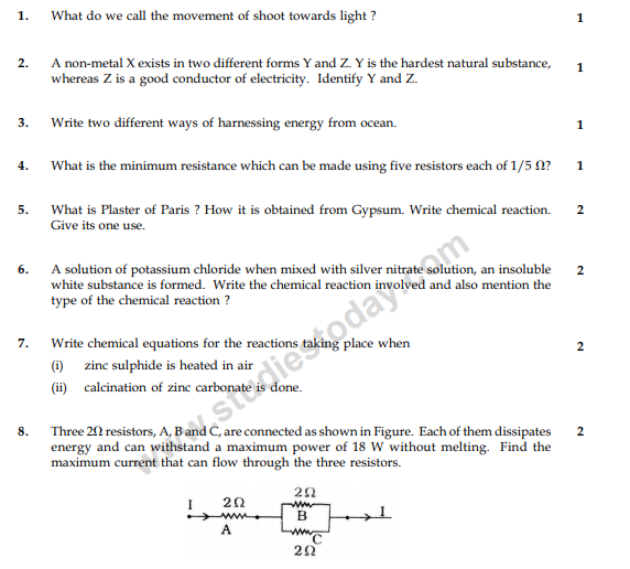 CBSE Class 10 Science Sample Paper 2014 (24)