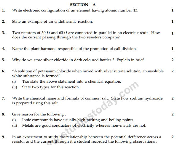 CBSE Class 10 Science Sample Paper 2014 (4)