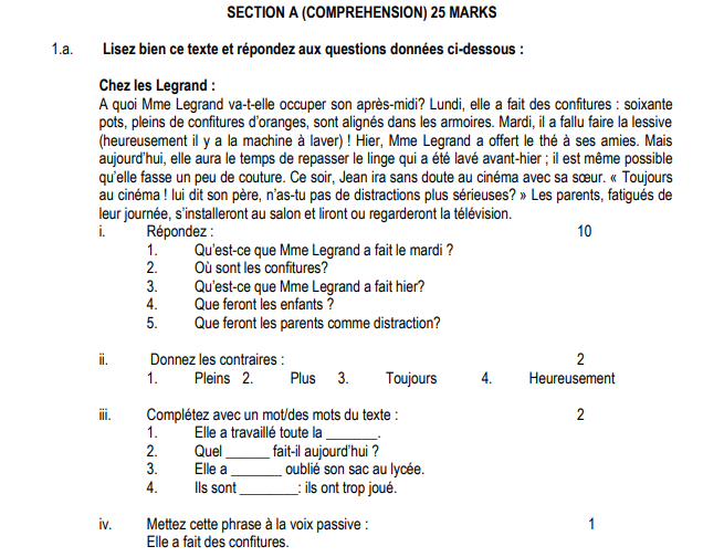 CBSE Class 12 French Sample Paper 2015