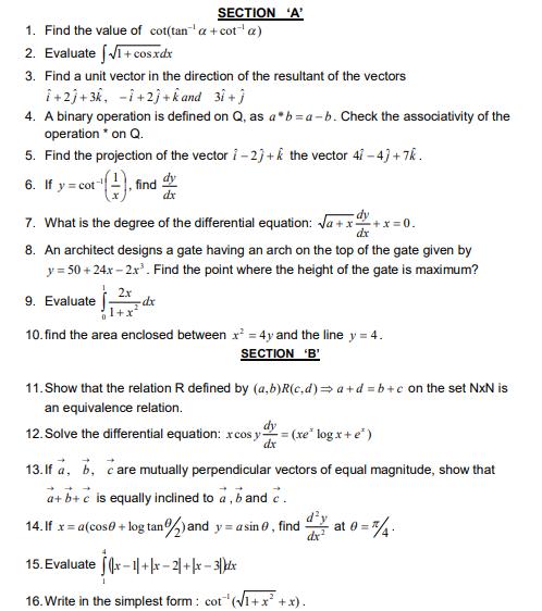CBSE Class 12 Mathematics Sample Paper 2014 (9)