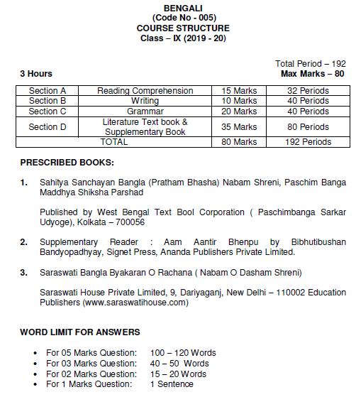 CBSE Class 9 Bengali Syllabus 2019 2020 Latest Syllabus for