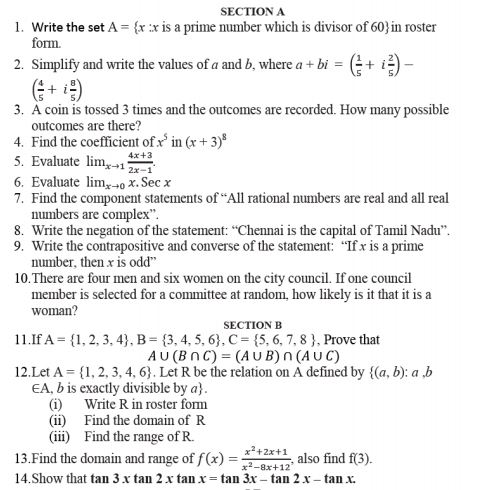 Class_11_Mathematics_Sample_Paper _9