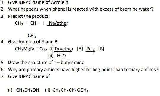 CBSE Class 12 Chemistry Worksheet - Organic Chemistry Practice