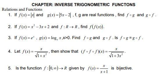 CBSE Class 12 Mathematics Worksheet - Inverse Trigonometric