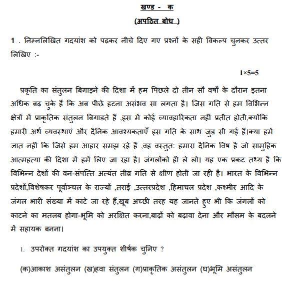 CBSE Class 8 Hindi Sample Paper Set I