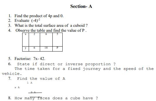 CBSE Class 8 Mathematics Sample Paper Set C