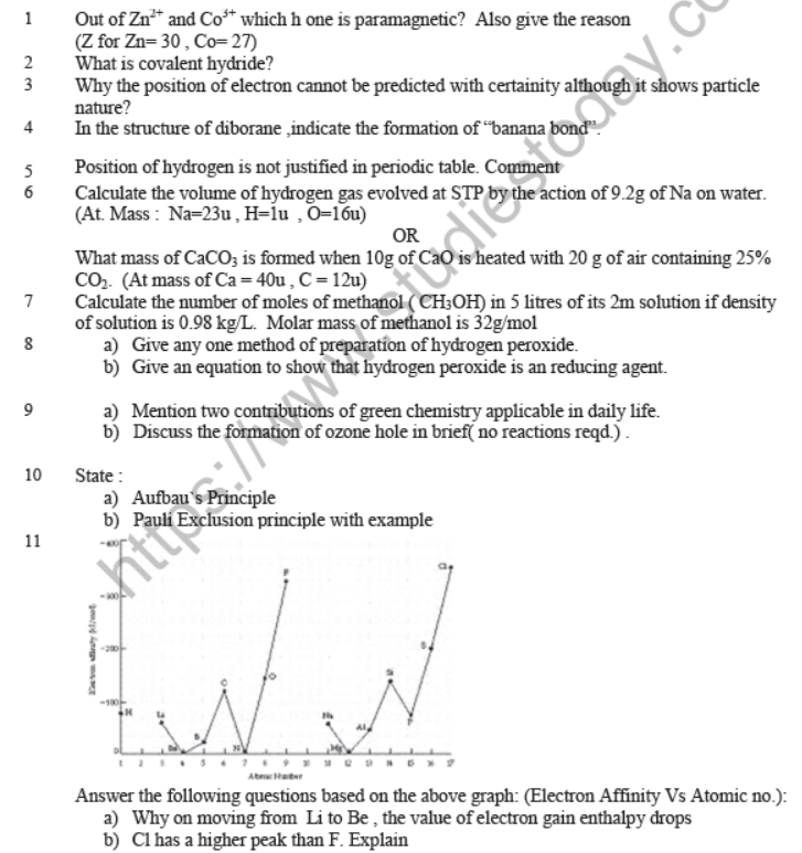 CBSE Class 11 Chemistry Question Paper Set S